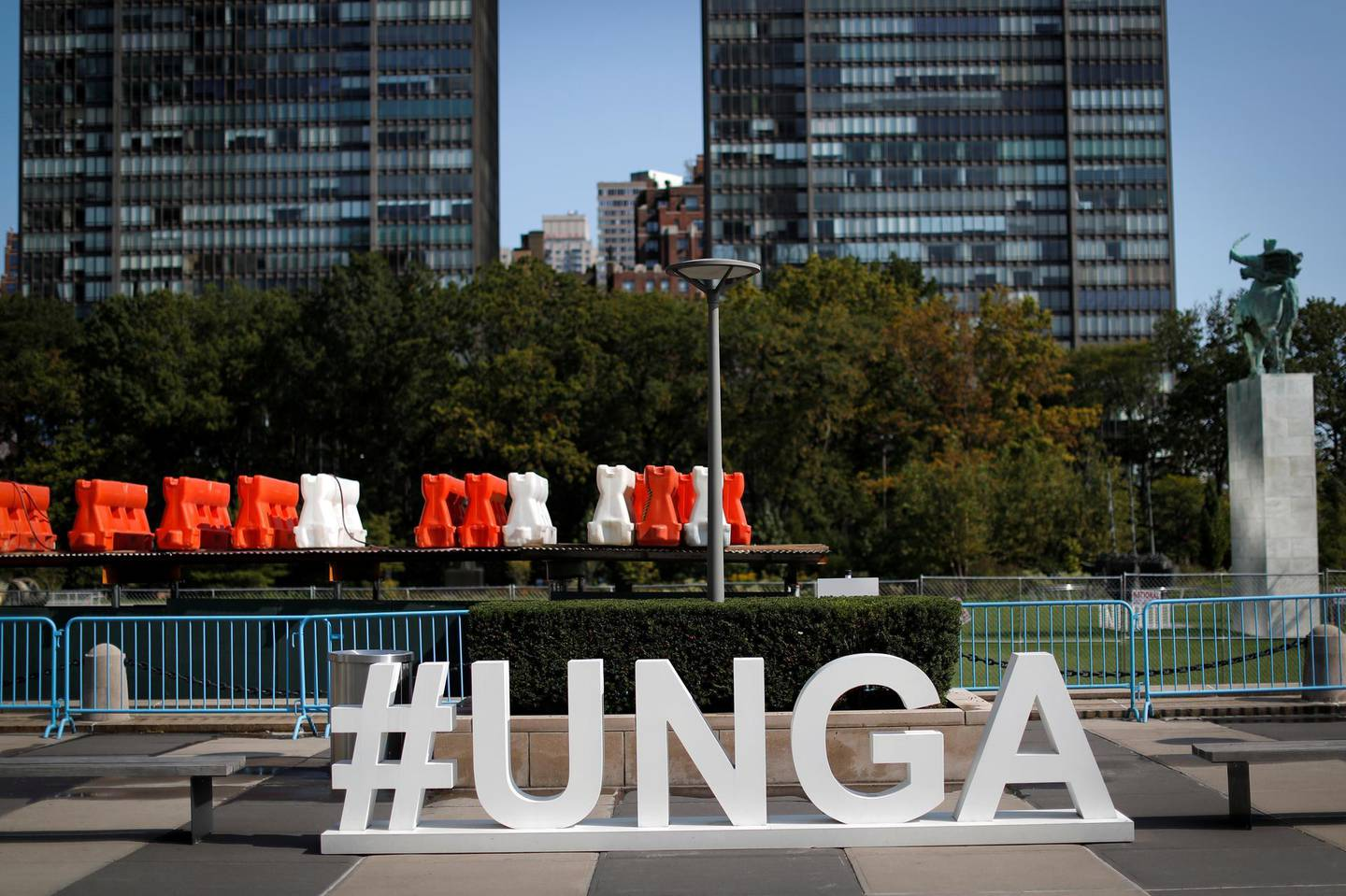 A sign sits in the empty North entrance plaza at United Nations headquarters during the 75th annual U.N. General Assembly high-level debate, which is being held mostly virtually due to the coronavirus disease (COVID-19) pandemic in New York, U.S., September 21, 2020. REUTERS/Mike Segar