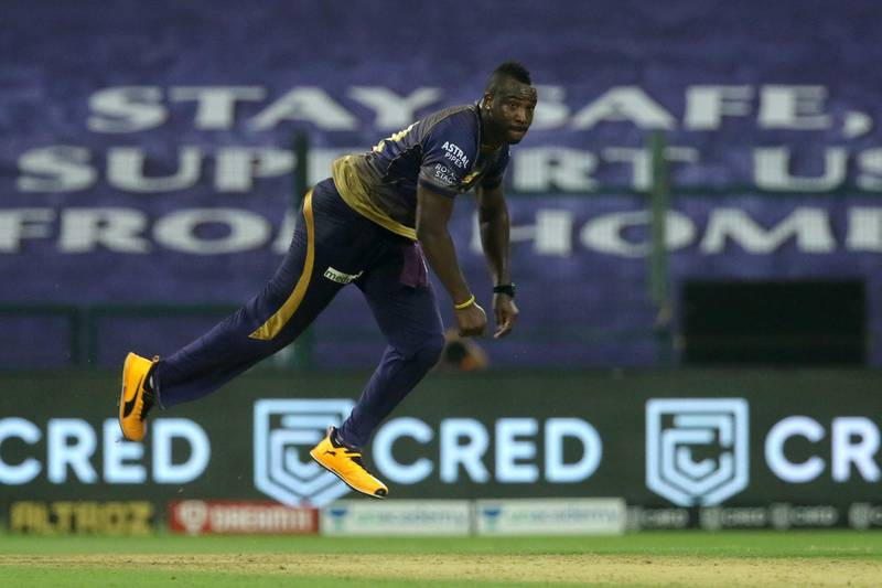 Andre Russell of Kolkata Knight Riders bowls during match 8 of season 13 of the Dream 11 Indian Premier League (IPL) between the Kolkata Knight Riders and the Sunrisers Hyderabad held at the Sheikh Zayed Stadium, Abu Dhabi in the United Arab Emirates on the 26th September 2020.  Photo by: Vipin Pawar  / Sportzpics for BCCI