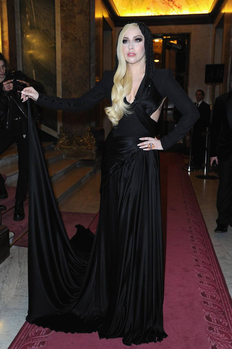 PARIS, FRANCE - JANUARY 19:  Lady Gaga attends the Atelier Versace show as part of Paris Fashion Week Haute Couture Spring/Summer 2014 on January 19, 2014 in Paris, France.  (Photo by Pascal Le Segretain/Getty Images)