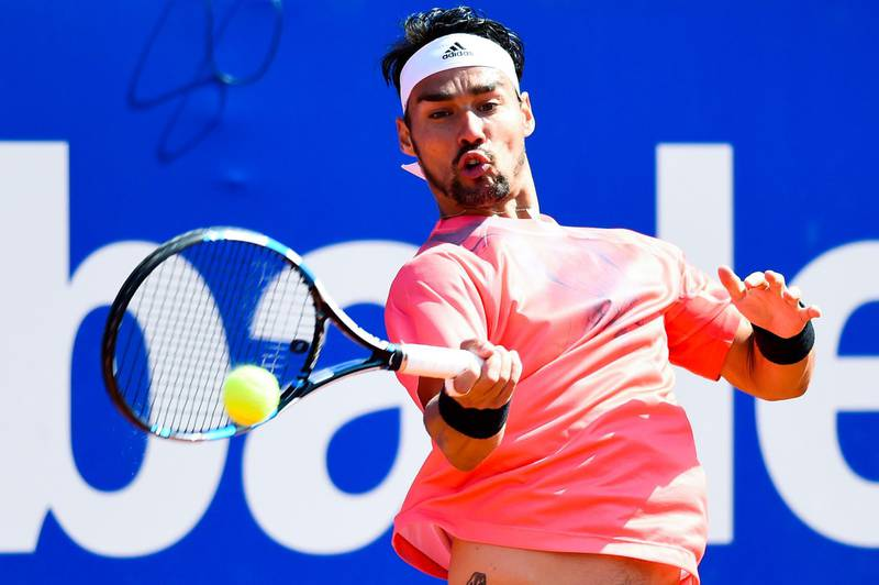 BARCELONA, SPAIN - APRIL 23:  Fabio Fognini of Italy in action against Rafael Nadal of Spain during day four of the Barcelona Open Bac Sabadell at the Real Club de Tenis Barcelona on April 23, 2015 in Barcelona, Spain. Fabio Fognini won 6-4, 7-6.  (Photo by David Ramos/Getty Images)