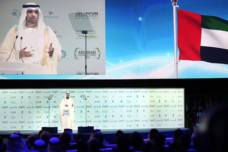 ABU DHABI, UNITED ARAB EMIRATES - - -  January 15, 2013 ---  Opening day of the World Future Energy Summit (WFES) was held at ADNEC in Abu Dhabi. A number of VIPs including Dr Sultan Ahmed al Jaber, CEO and Managing Director of Masdar was among those who spoke during the opening ceremony.  ( DELORES JOHNSON / The National )