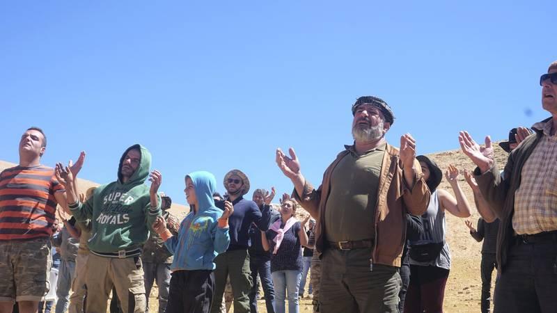 The crowd prays at the end of mass on Qornet Al Sawda, Lebanon, August 9, 2020. Photo by Aram Abdo
