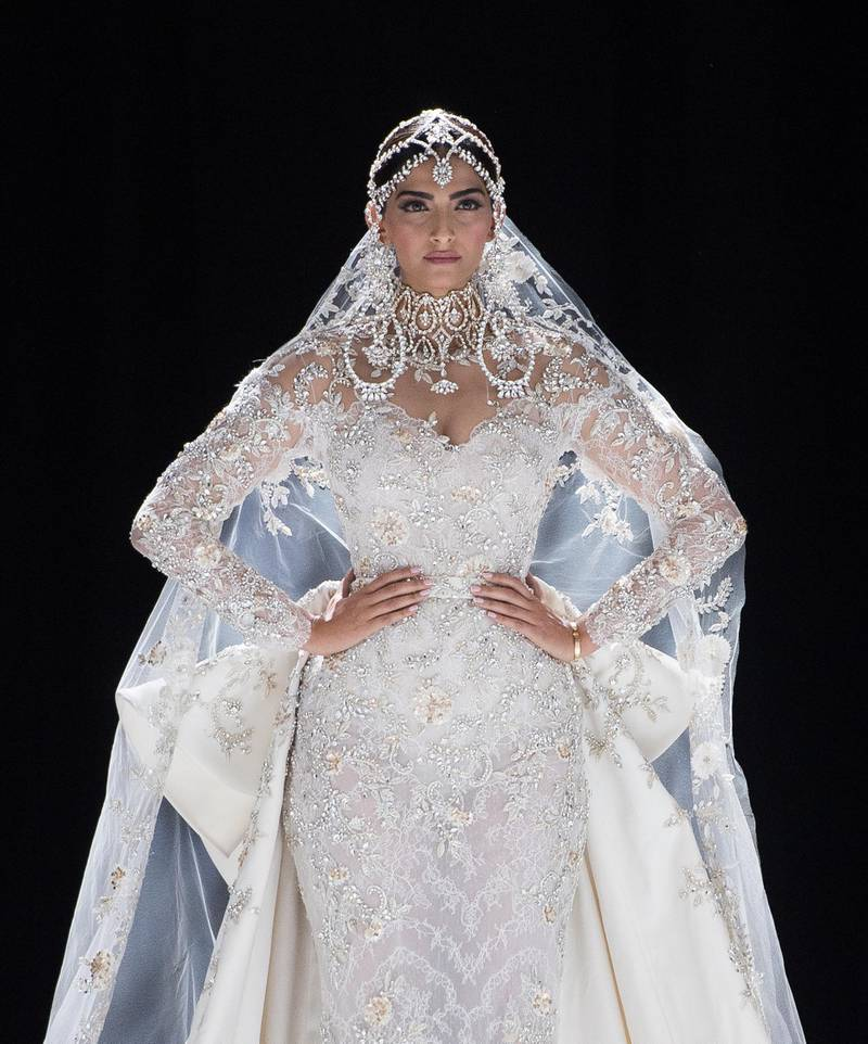 PARIS, FRANCE - JULY 03:  Sonam Kapoor walks the runway during the Ralph & Russo Haute Couture Fall/Winter 2017-2018 show as part of Haute Couture Paris Fashion Week on July 3, 2017 in Paris, France.  (Photo by Samir Hussein/WireImage/Getty Images)