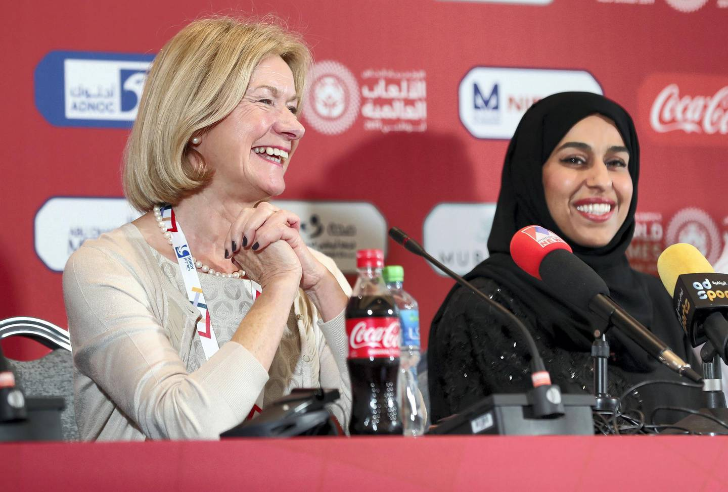 Abu Dhabi, United Arab Emirates - March 13, 2019: L-R Mary Davis, CEO of Special Olympics International, Her Excellency Hessa bint Essa Buhumaid, Minister of Community Development speak at the Special Olympics Opening Press Conference. Wednesday the 13th of March 2019 at ADNEC, Abu Dhabi. Chris Whiteoak / The National