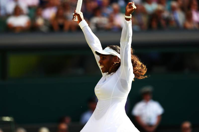 LONDON, ENGLAND - JULY 06:  Serena Williams of the United States celebrates after defeating Kristina Mladenovic of France in their Ladies' Singles third round match on day five of the Wimbledon Lawn Tennis Championships at All England Lawn Tennis and Croquet Club on July 6, 2018 in London, England.  (Photo by Matthew Stockman/Getty Images)
