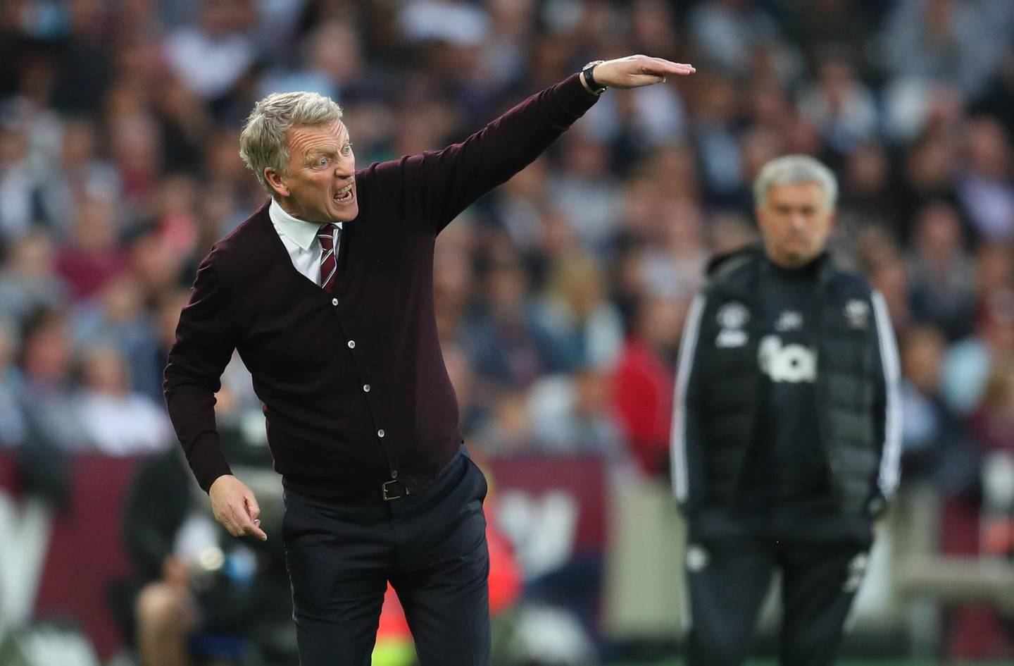 LONDON, ENGLAND - MAY 10: David Moyes manager of West Ham United shouts during the Premier League match between West Ham United and Manchester United at London Stadium on May 10, 2018 in London, England. (Photo by Catherine Ivill/Getty Images)