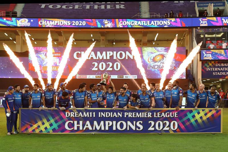 Mumbai Indians are crowned champions during the final of season 13 of the Dream 11 Indian Premier League (IPL) between the Mumbai Indians and the Delhi Capitals held at the Dubai International Cricket Stadium, Dubai in the United Arab Emirates on the 10th November 2020.  Photo by: Ron Gaunt  / Sportzpics for BCCI