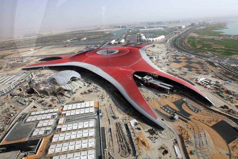 United Arab Emirates - Abu Dhabi - April 07 - 2010 : Ferrari World in Yas Island seen from an helicopter during a trip by FAS , Falcon Aviation Services. ( Jaime Puebla / The National )