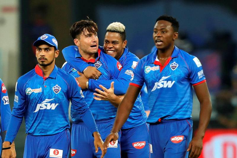 Marcus Stoinis of Delhi Capitals  celebrates the wicket of Quinton de Kock of Mumbai Indians  during the final of season 13 of the Dream 11 Indian Premier League (IPL) between the Mumbai Indians and the Delhi Capitals held at the Dubai International Cricket Stadium, Dubai in the United Arab Emirates on the 10th November 2020.  Photo by: Saikat Das  / Sportzpics for BCCI