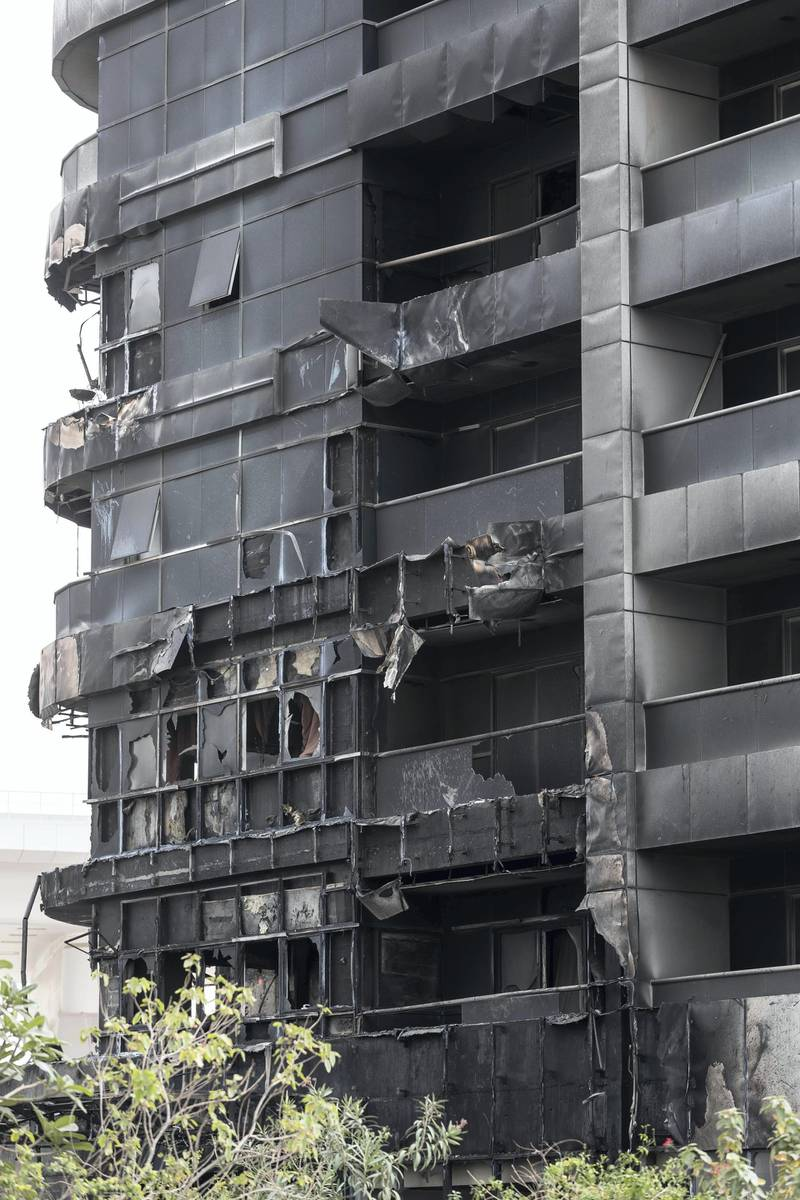 DUBAI, UNITED ARAB EMIRATES. 14 MAY 2018. Zen Tower fire in the Marina. Fire damage. (Photo: Antonie Robertson/The National) Journalist: Nicke Webster. Section: National.