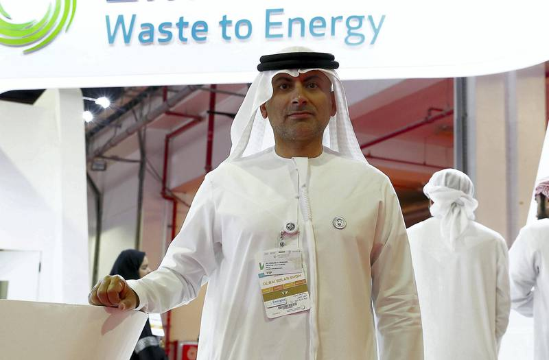 DUBAI , UNITED ARAB EMIRATES ,  October 23 , 2018 :- Khaled Al Huraimel , Group CEO of Bee���ah at the Bee���ah stand during the WETEX 2018 held at Dubai World Trade Centre in Dubai. ( Pawan Singh / The National )  For News. Story by Patrick