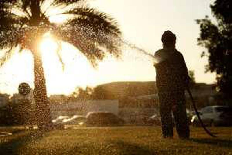 ABU DHABI, UNITED ARAB EMIRATES - December 4, 2008: A man waters ( water ) city grass in Abu Dhabi.( Ryan Carter / The National )*** Stock Images *** Local Caption ***  RC005-Stock.JPGRC005-Stock.JPG