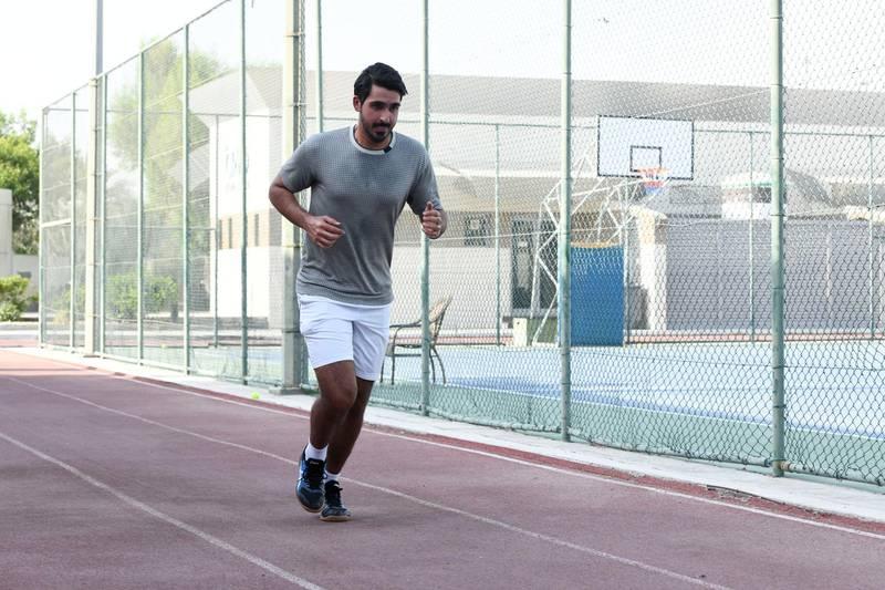 Nasser Al Ketbi-AD Nasser Al Ketbi, 23, jogging at the Abu Dhabi Country Club on May 24, 2021. Khushnum Bhandari / The National  Reporter: Haneen Dajani News