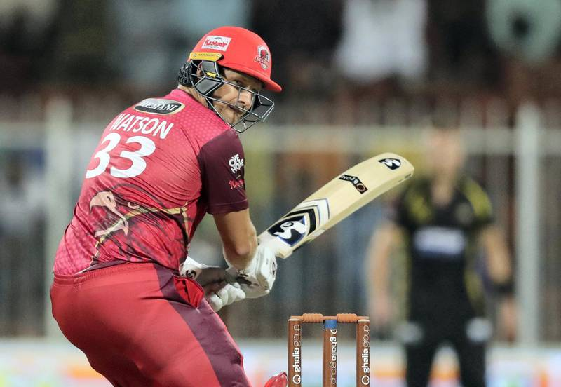 Sharjah, United Arab Emirates - November 22, 2018: Sindhis' Shane Watson bats during the game between Kerala Knights and Sindhis in the T10 league. Thursday the 22nd of November 2018 at Sharjah cricket stadium, Sharjah. Chris Whiteoak / The National