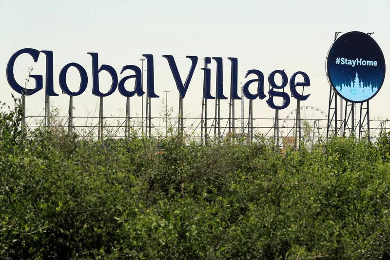 Dubai, United Arab Emirates - Reporter: N/A: A sign at Global Village about Staying home and thanking Dubai's heroes. Wednesday, April 1st, 2020. Dubai. Chris Whiteoak / The National