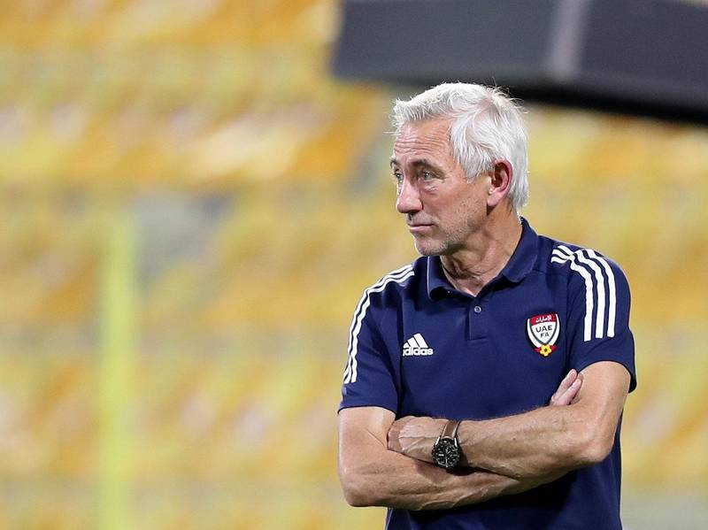 The UAE manager Bert van Marwijk during the game between the UAE and Vietnam in the World cup qualifiers at the Zabeel Stadium, Dubai on June 15th, 2021. Chris Whiteoak / The National.  Reporter: John McAuley for Sport
