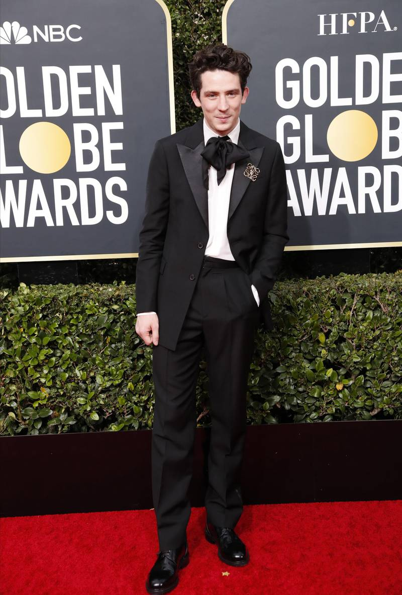 epa08106699 Josh O'Connor arrives for the 77th annual Golden Globe Awards ceremony at the Beverly Hilton Hotel, in Beverly Hills, California, USA, 05 January 2020.  EPA-EFE/NINA PROMMER