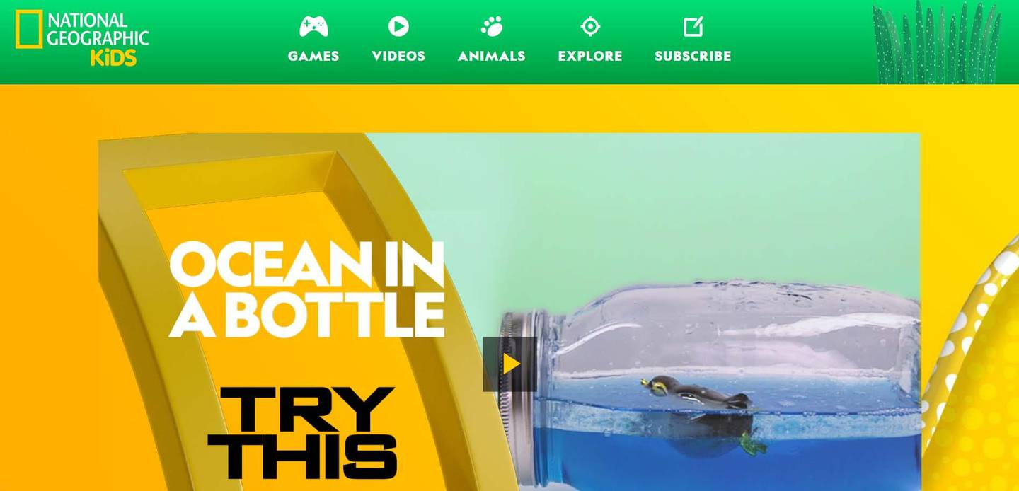 A screenshot of the website of National Geographic for Kids.