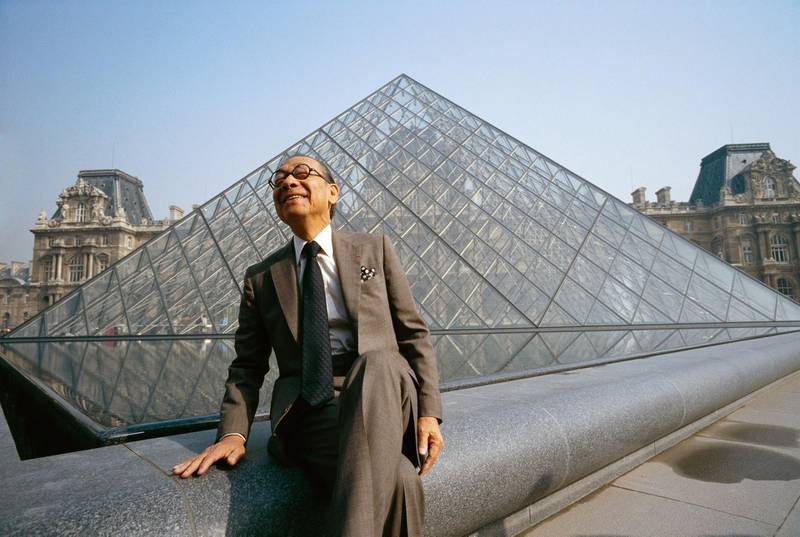 Architect I.M. Pei sits near the Louvre's Pyramid Entrance, which he designed. (Photo by Bernard Bisson/Sygma via Getty Images)