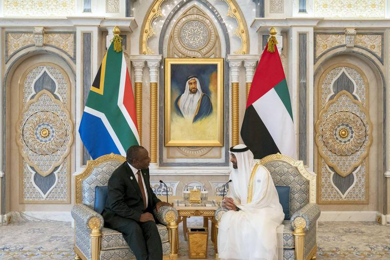 ABU DHABI, UNITED ARAB EMIRATES - July 13, 2018: HH Sheikh Mohamed bin Zayed Al Nahyan Crown Prince of Abu Dhabi Deputy Supreme Commander of the UAE Armed Forces (R), meets withHECyril Ramaphosa, President of South Africa (L), at the Presidential Palace.  ( Hamad Al Kaabi / Crown Prince Court - Abu Dhabi )