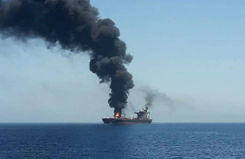 epa07645239 A handout photo made available by Iran's official state TV (IRIB) allegedly shows the crude oil tanker Front Altair on fire in the Gulf of Oman, 13 June 2019. According to the Norwegian Maritime Authority, the Front Altair is currently on fire in the Gulf of Oman after allegedly being attacked and in the early morning of 13 June between the UAE and Iran.  EPA/IRIB NEWS HANDOUT BEST QUALITY AVAILABLE. MANDATORY CREDIT. HANDOUT EDITORIAL USE ONLY/NO SALES