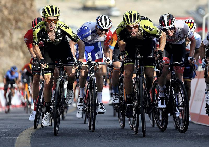 HATTA, February, 24, 2020: Cyclists in action during the second stage of the UAE Tour 2020 Cycle Race in Hatta  . Satish Kumar/ For the National/  Story Amit Pasella