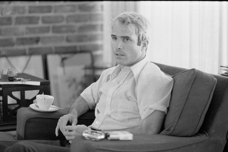 Portrait of American soldier and Vietnam prisoner of war (and future US Senator) John McCain as he sits on a sofa during a interview, April 24, 1973. About a month prior, he had been released and returned from Vietnam. (Photo by Thomas O'Halloran/PhotoQuest/Getty Images)