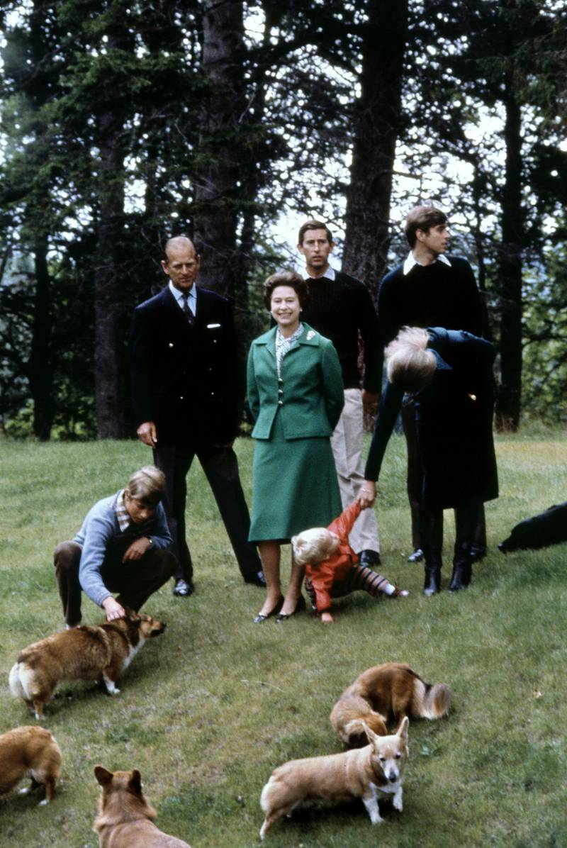 Picture of Queen Elizabeth and Duke of Edinburgh (R) posing with theirs three sons, Charles (2ndR), Edward (L), Andrew (R), her daughter princess Anne (with her son Peter) and the royal corgies for their 32nd wedding anniversary, in Balmoral Castle, Scotland, 20 November 1979. (Photo by - / AFP)