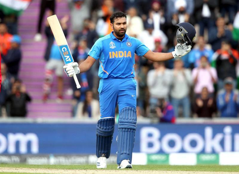 India's Rohit Sharma celebrates his century during the ICC Cricket World Cup group stage match at the Hampshire Bowl, Southampton. PRESS ASSOCIATION Photo. Picture date: Wednesday June 5, 2019. See PA story CRICKET South Africa. Photo credit should read: Adam Davy/PA Wire. RESTRICTIONS: Editorial use only. No commercial use. Still image use only.
