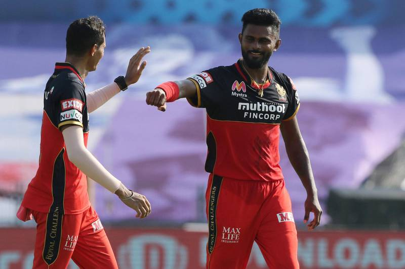 Isuru Udana of Royal Challengers Bangalore celebrates the wicket of Riyan Parag of Rajasthan Royals during match 15 of season 13 of Indian Premier League (IPL) between the Royal Challengers Bangalore and the Rajasthan Royals at the Sheikh Zayed Stadium, Abu Dhabi  in the United Arab Emirates on the 3rd October 2020.  Photo by: Pankaj Nangia  / Sportzpics for BCCI
