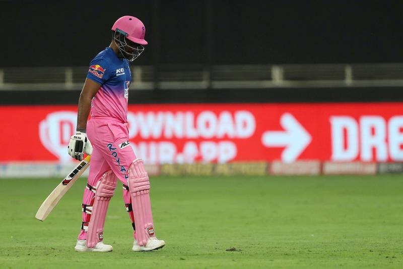 Sanju Samson of Rajasthan Royals departs during match 12 of season 13 of the Dream 11 Indian Premier League (IPL) between the Rajasthan Royals and the Kolkata Knight Riders held at the Dubai International Cricket Stadium, Dubai in the United Arab Emirates on the 30th September 2020.  Photo by: Ron Gaunt  / Sportzpics for BCCI