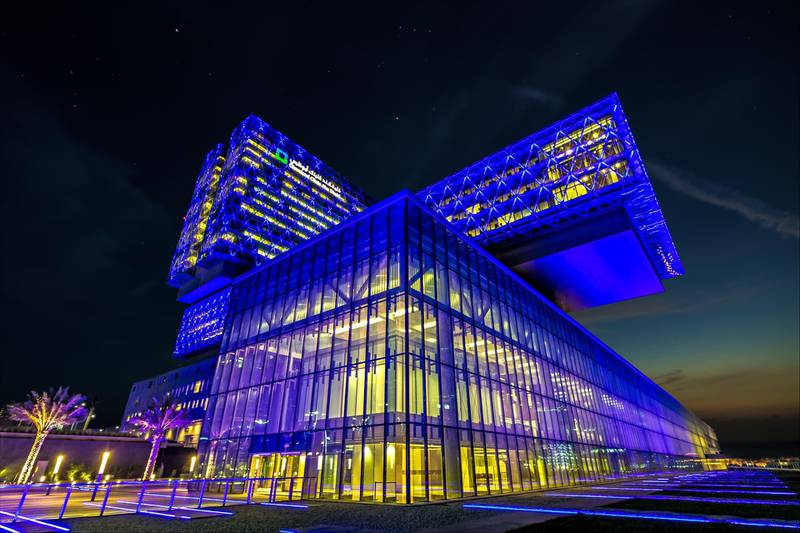 A handout photo of the Cleveland Clinic Abu Dhabi illuminated with colours of the French flag in solidarity with the victims of the attack in Nice. (Courtesy: General Secretariat of Executive Council) *** Local Caption ***  CCAD_Ex-20.jpg