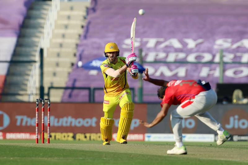 Faf du Plessis of Chennai Superkings plays a shot during match 53 of season 13 of the Dream 11 Indian Premier League (IPL) between the Chennai Super Kings and the Kings XI Punjab at the Sheikh Zayed Stadium, Abu Dhabi  in the United Arab Emirates on the 1st November 2020.  Photo by: Vipin Pawar  / Sportzpics for BCCI