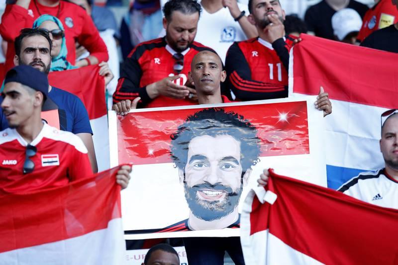 Soccer Football - International Friendly - Belgium vs Egypt - King Baudouin Stadium, Brussels, Belgium - June 6, 2018   Eygpt fans with a banner of Mohamed Salah before the match   REUTERS/Francois Lenoir