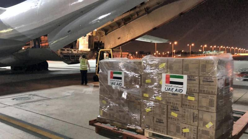 UAE plane that was sent to Somalia carrying medical supplies. Crown Prince Court