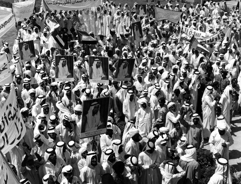 A public rally in support of the leadership of Sheikh Zayed Bin Sultan Al Nahyan, 1st October 1976  National Archives images supplied by the Ministry of Presidential Affairs to mark the 50th anniverary of Sheikh Zayed Bin Sultan Al Nahyan becaming the Ruler of Abu Dhabi. *** Local Caption ***  38.jpg