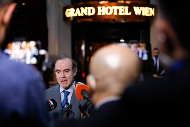 Deputy Secretary General and Political Director of the European External Action Service (EEAS), Enrique Mora,addresses the media as he leaves the 'Grand Hotel Wien' where closed-door nuclear talks with Iran take place in Vienna, Austria, Wednesday, June 2, 2021. (AP Photo/Lisa Leutner)