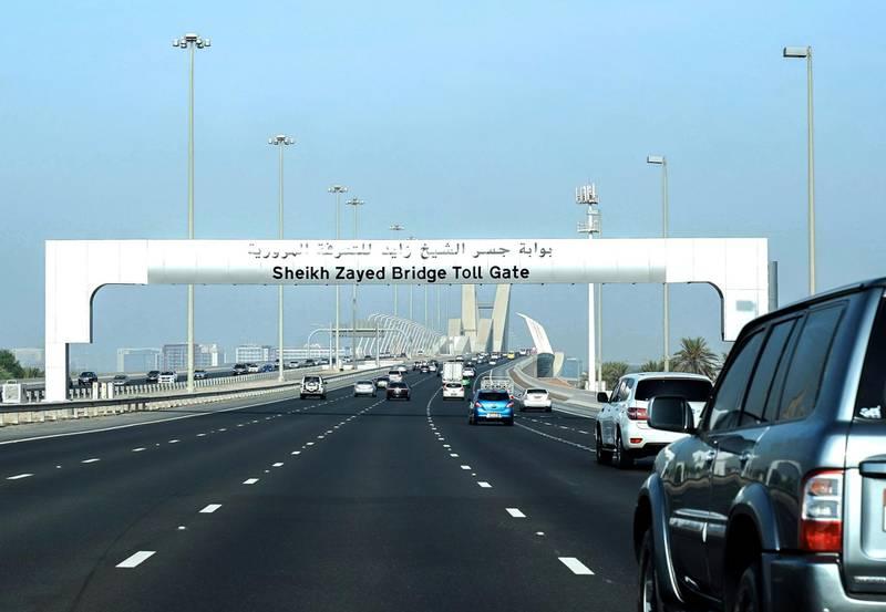 Abu Dhabi, United Arab Emirates, September 18, 2019.  The new Abu Dhabi toll gate on Sheikh Zayed Bridge.Victor Besa / The NationalSection:  NAReporter: