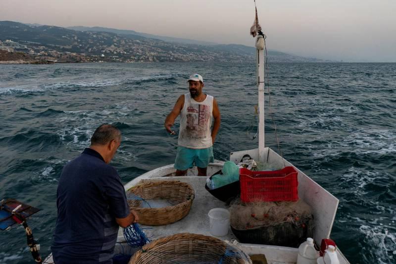 Fishermen at work on Tuesday, 15 Sep 2020, off the coast of Byblos , Lebanon. (Matt Kynaston)