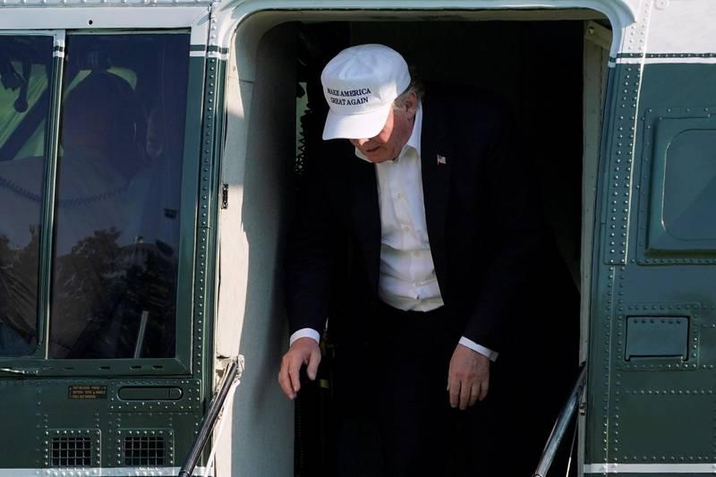 U.S. President Donald Trump walks from Marine One as he return to the White House in Washington, U.S., July 1, 2018.      REUTERS/Joshua Roberts