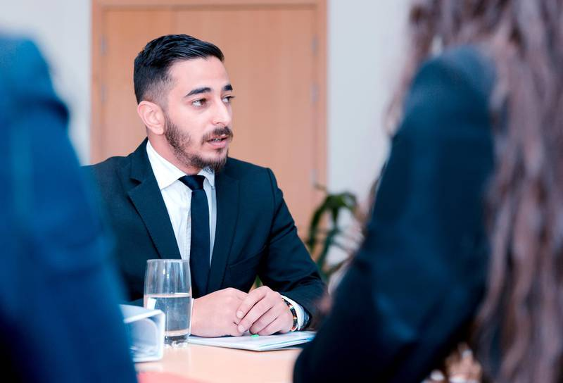 Portrait of a young middle eastern business professional attending a job interview