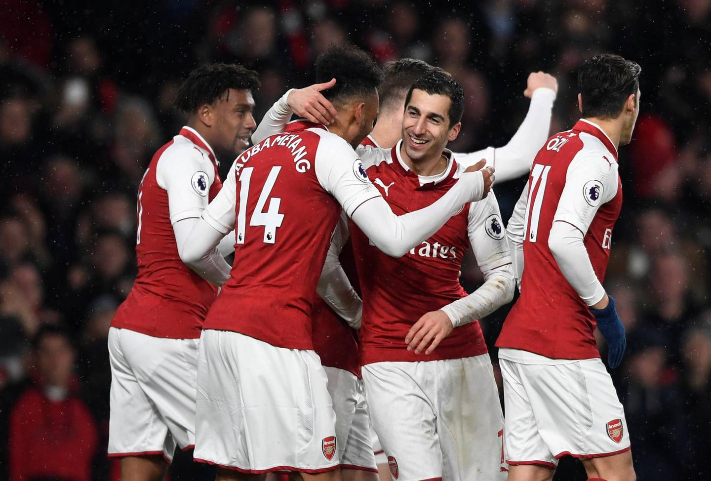 """Soccer Football - Premier League - Arsenal vs Everton - Emirates Stadium, London, Britain - February 3, 2018   Arsenal's Pierre-Emerick Aubameyang celebrates their first goal with Henrikh Mkhitaryan    Action Images via Reuters/Tony O'Brien    EDITORIAL USE ONLY. No use with unauthorized audio, video, data, fixture lists, club/league logos or """"live"""" services. Online in-match use limited to 75 images, no video emulation. No use in betting, games or single club/league/player publications.  Please contact your account representative for further details."""