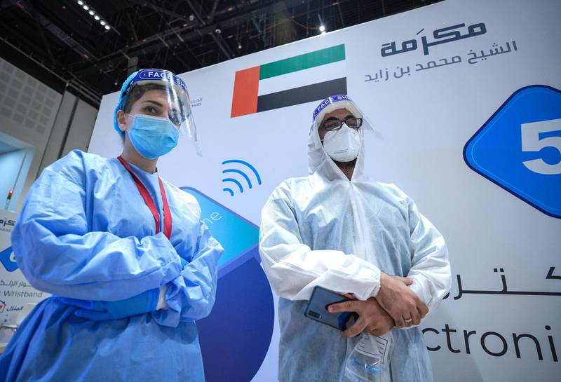 Abu Dhabi, United Arab Emirates, June 4, 2020.     Magham Shrike with fellow healthcare worker at the new Covid-19 Prime Assessment Center at ADNEC.Victor Besa  / The NationalSection:  NAReporter:  Shireena Al Nowais