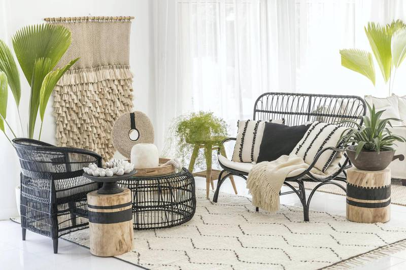 """DUBAI, UNITED ARAB EMIRATES.  04 MARCH 2018. Dubai-based design firm Tribe created a """"Village to Villa"""" room set that is made up entirely of Fairtrade furniture and accessories. (Photo: Antonie Robertson/The National) Journalist: Melanie Hunt. Section: Weekend."""