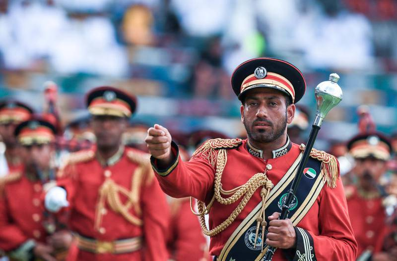 Abu Dhabi, UAE.  May 3, 2018.   President's Cup Final, Al Ain FC VS. Al Wasl.  The UAE band parades around the stadium before the match.Victor Besa / The NationalSportsReporter: John McAuley
