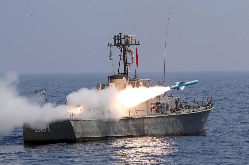 """A missile is launched during the annual military drill, dubbed """"Zolphaghar 99"""", in the Gulf of Oman with the participation of Navy, Air and Ground forces, Iran on September 9, 2020. Picture taken September 9, 2020. WANA (West Asia News Agency) via REUTERS ATTENTION EDITORS - THIS IMAGE HAS BEEN SUPPLIED BY A THIRD PARTY."""