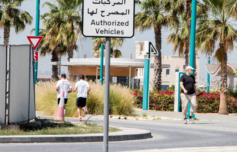 Dubai United Arab Emirates- People are out to get their exercise and sun after the 24hr quarantine is lifted in Dubai.  Leslie Pableo for The National