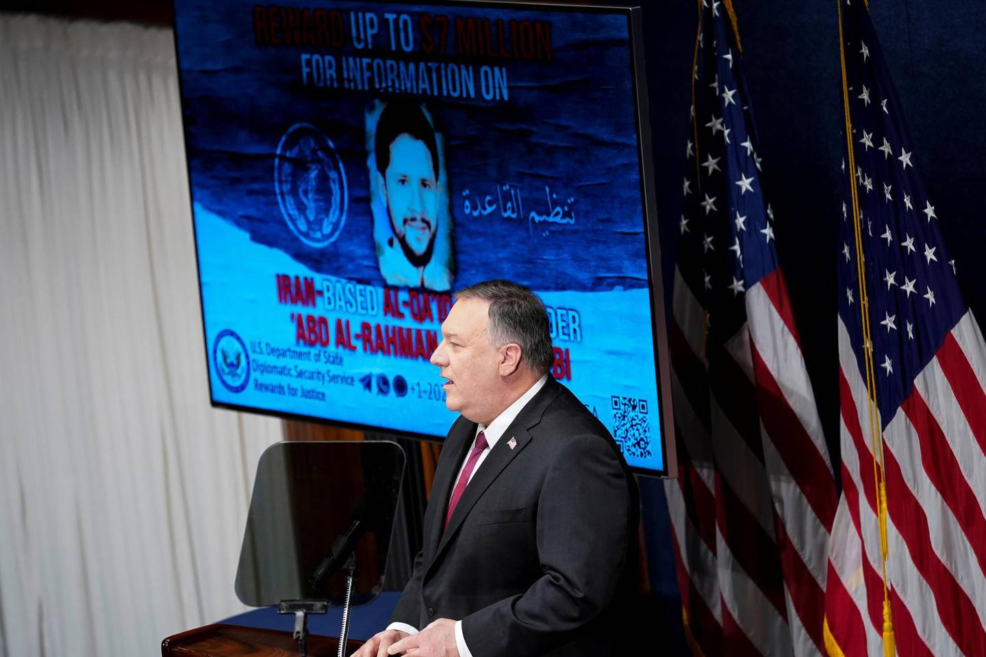 Secretary of State Mike Pompeo speaks at the National Press Club in Washington, DC, U.S., January 12, 2021. Andrew Harnik/Pool via REUTERS