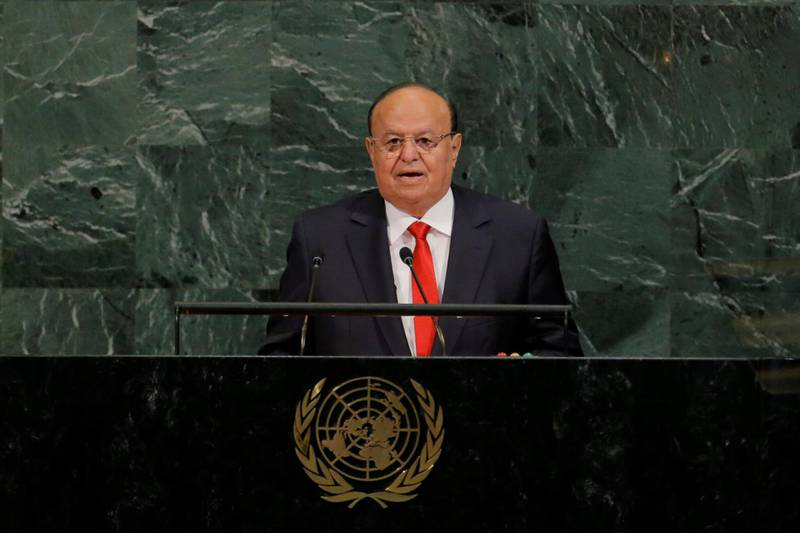 Abdrabbuh Mansour Hadi Mansour, President of the Republic of Yemen, addresses the 72nd United Nations General Assembly at U.N. headquarters in New York, U.S., September 21, 2017. REUTERS/Lucas Jackson