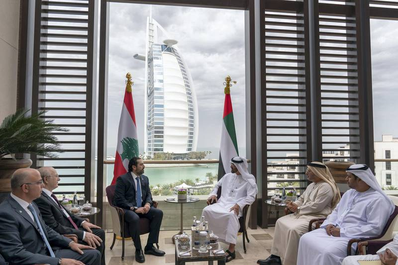 JUMEIRAH, DUBAI, UNITED ARAB EMIRATES - February 10, 2019: HH Sheikh Mohamed bin Zayed Al Nahyan Crown Prince of Abu Dhabi Deputy Supreme Commander of the UAE Armed Forces (3rd R), meets with HE Saad Hariri, Prime Minister of Lebanon (4th R), during the 2019 World Government Summit. Seen with HE Dr Anwar bin Mohamed Gargash, UAE Minister of State for Foreign Affairs (2nd L) and HE Hamad Saeed Al Shamsi, UAE Ambassador to Lebanon (R).  ( Ryan Carter for the Ministry of Presidential Affairs ) ---